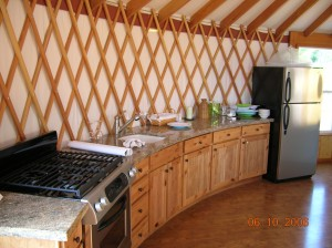 Yurt interior kitchen