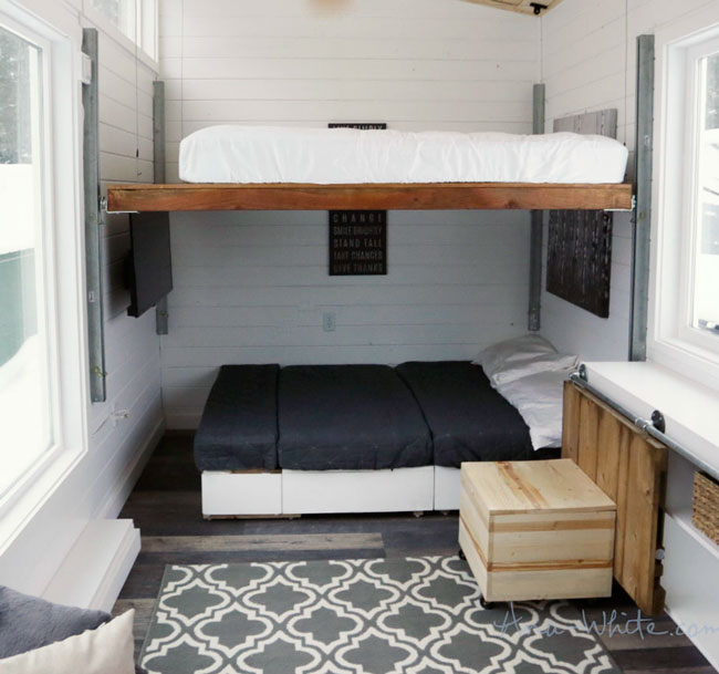 Open Concept Modern Tiny House With Elevator Bed Change