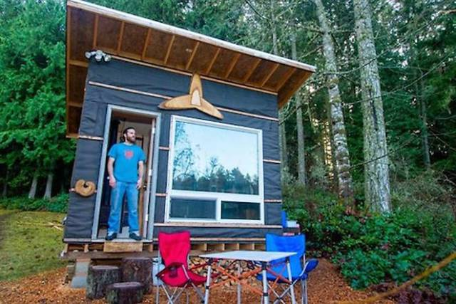tiny house made from recycled material